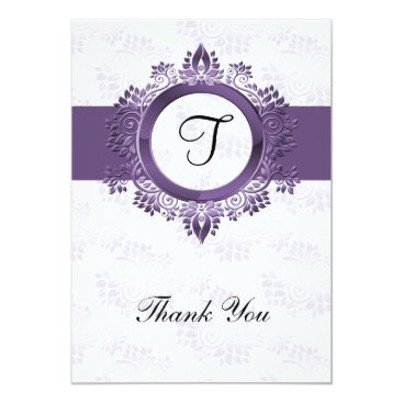 flourish purple monogram wedding thank you card