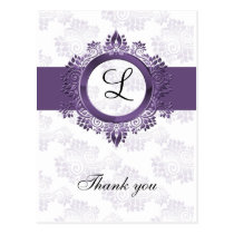 flourish purple monogram wedding thank you postcard