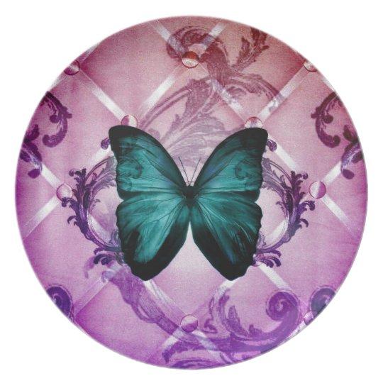 Flourish Purple Swirls Bohemian Teal Butterfly Melamine Plate