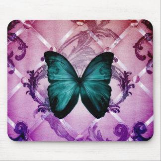 Flourish Purple Swirls Bohemian Teal Butterfly Mouse Pad