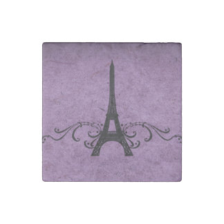 Flourish púrpura del francés del vintage imán de piedra