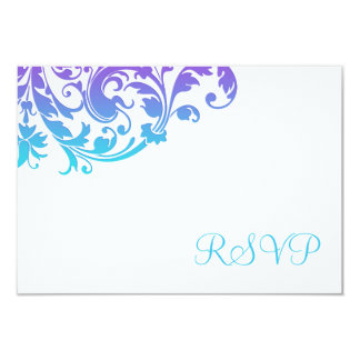 "Flourish púrpura elegante RSVP del trullo Invitación 3.5"" X 5"""