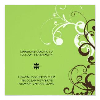 """flourish; recepción verde invitación 5.25"""" x 5.25"""""""