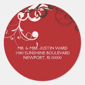 flourish; red address classic round sticker