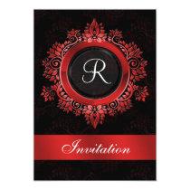 flourish red monogram elegant wedding Invitations