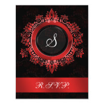 flourish red monogram elegant wedding RSVP Card