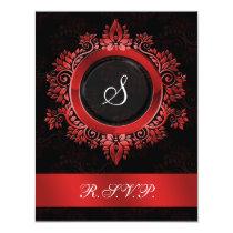 flourish red monogram elegant wedding RSVP Card