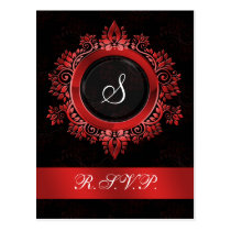 flourish red monogram elegant wedding RSVP Postcard