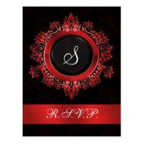 flourish red monogram elegant wedding RSVP Postcard