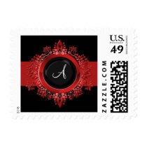 flourish red monogram elegant wedding stamps