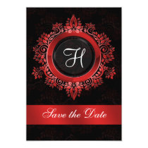 flourish red monogram wedding save the date card