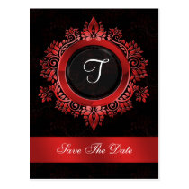 flourish red monogram wedding save the date postcard