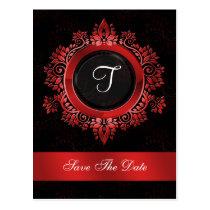flourish red monogram wedding save the date postcard
