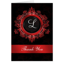 flourish red monogram wedding thank you card