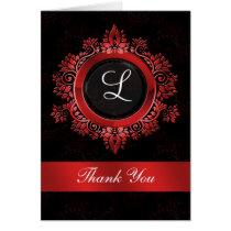 flourish red monogram wedding thank you card