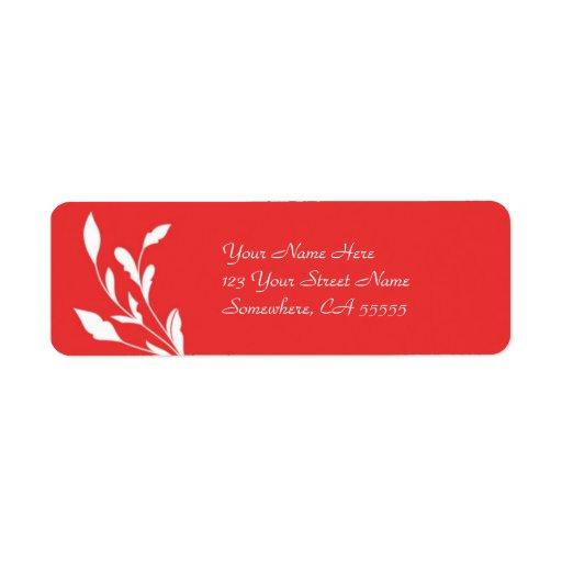 Flourish rojo del remite Label//Poppy Etiquetas De Remite