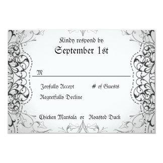 Flourish RSVP Bride & Groom Skeleton Dinner Cards Custom Invites
