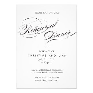 Flourish Script Rehearsal Dinner Card