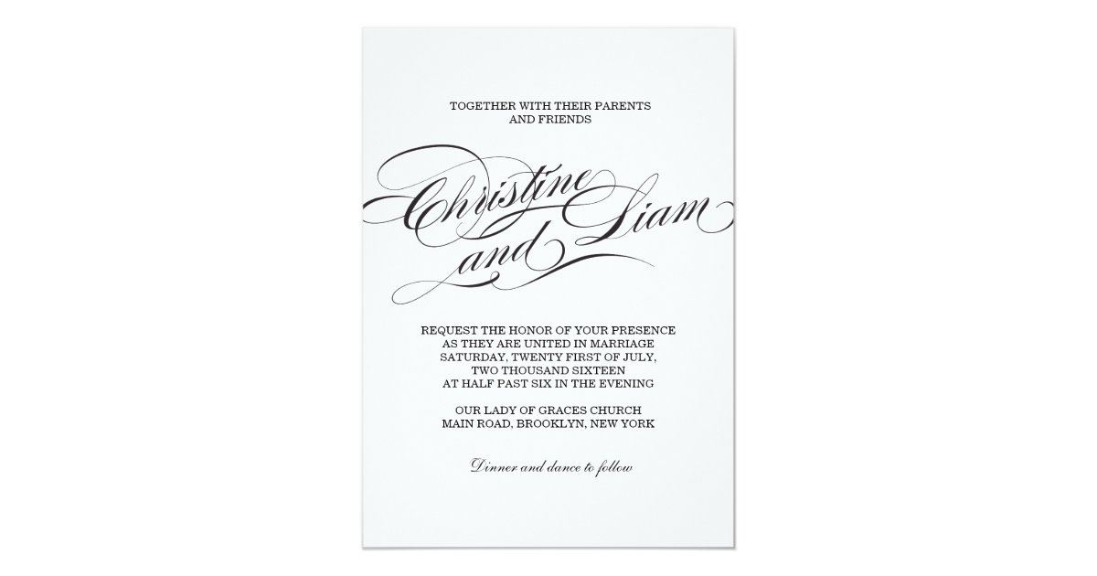 Flourish Wedding Invitations: Flourish Script Wedding Invitation