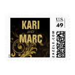Flourish Scroll Wedding | black and gold Postage Stamp