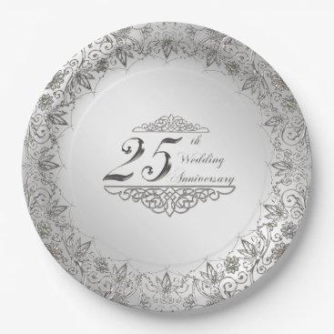 Beach Themed Flourish Silver 25th Anniversary Paper Plate