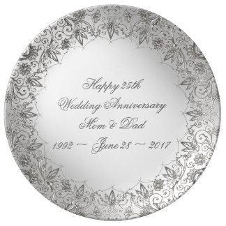 Flourish Silver 25th Anniversary Porcelain Plate