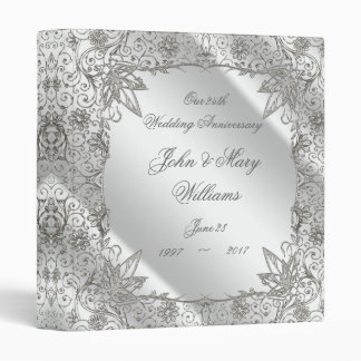 "Flourish Silver 25th Wedding Anniversary 1"" Binder"