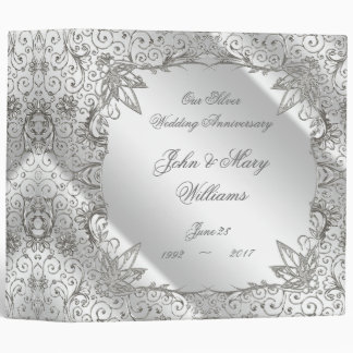 "Flourish Silver 25th Wedding Anniversary 2"" Binder"
