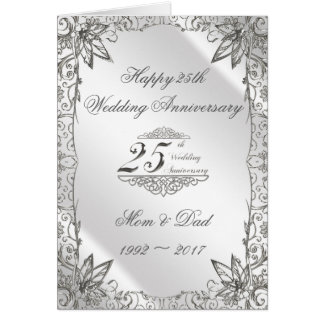 Flourish Silver 25th Wedding Anniversary Card