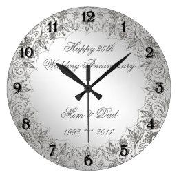 Flourish Silver 25th Wedding Anniversary Clock