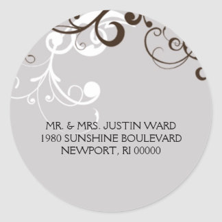 flourish; silver address classic round sticker