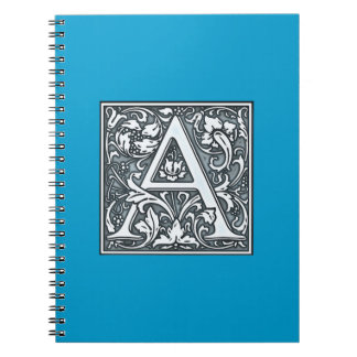 flourish silver monogram - A Spiral Notebook