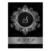 flourish silver monogram elegant wedding RSVP Postcard