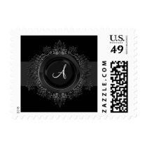 flourish silver monogram elegant wedding stamps