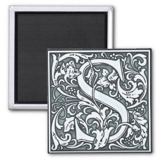 flourish silver monogram - S 2 Inch Square Magnet