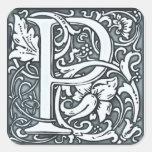 flourish silver monogram square sticker