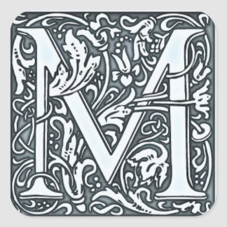 flourish silver monogram square sticker