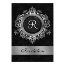 flourish silver monogram  wedding Invitations