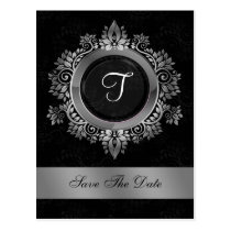 flourish silver monogram wedding save the date postcard