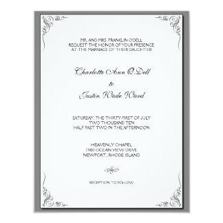 flourish silver; wedding card
