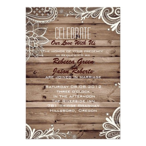 flourish swirls lace barn wood country wedding personalized announcement