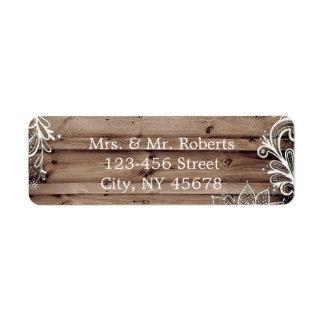 flourish swirls lace barn wood country wedding label