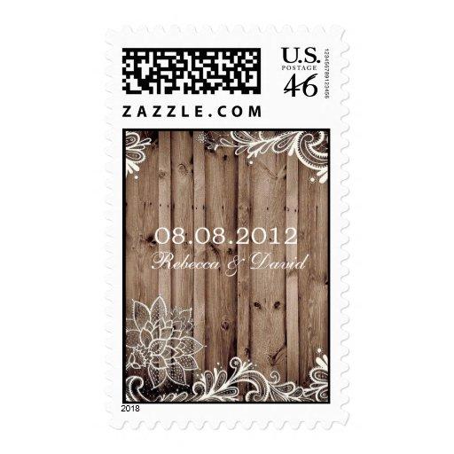 flourish swirls lace barn wood country wedding postage