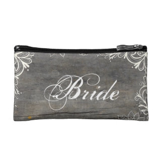flourish swirls lace wood country bride makeup bag