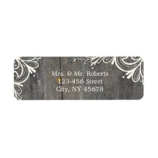 flourish swirls lace wood country wedding return address label