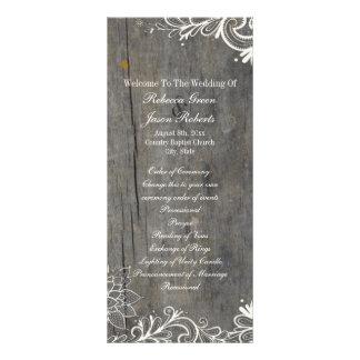 flourish swirls lace wood country wedding programs