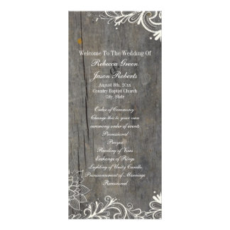 flourish swirls lace wood country wedding programs rack cards