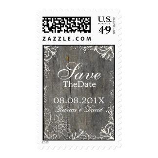 flourish swirls lace wood country wedding stamp