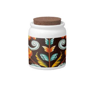 flourish swirls yellow orange autumn fall leaves candy jar