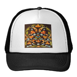 flourish swirls yellow orange autumn fall leaves trucker hat